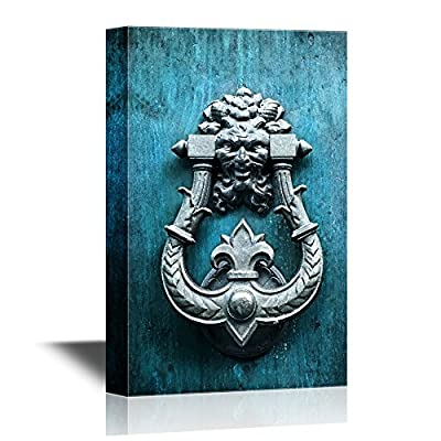 Doors Canvas Wall Art - Metal Antique Door Knocker, Rome, Italy - Gallery Wrap Modern Home Art | Ready to Hang - 12x18 inches