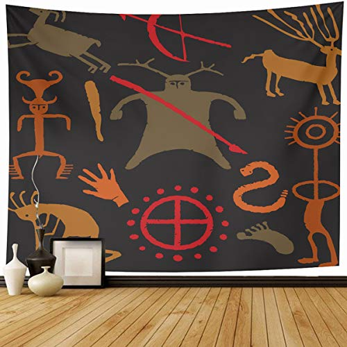 (Ahawoso Tapestry Wall Hanging 90x60 Southwestern Brown Ancient Warrior Caveman Weapons Kokopelli Swirl Tan Arrows Bow Cave Drawings Home Decor Tapestries Decorative Bedroom Living Room)