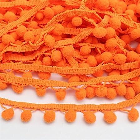 Yellow Yalulu 20 Yards Mini Triangle Pom Pom Trim Ball Fringe Ribbon Tassel DIY Sewing Lace for Clothing Curtain Pillow Accessory Decoration