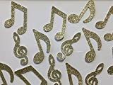 Music Note Confetti - Gold Glitter - Large 2'' tall (Set of 65 Pieces)