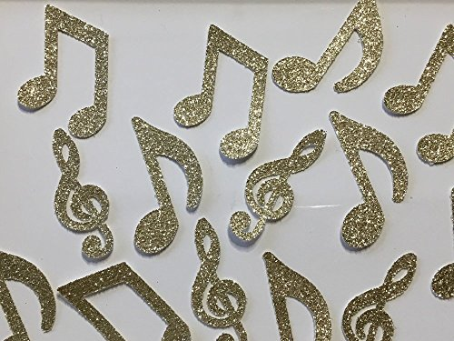 Music Note Confetti - Gold Glitter - Large 2