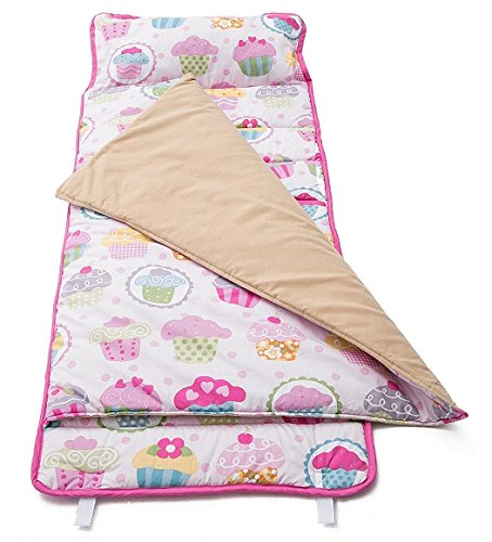 HESEAM for Kids Nap Mat, Sleeping Cotton Mat for Girl,with Blanket and Pillow,Perfect for Daycare and Preschool or Napping On-The-Go,Removable Pillow - Soft, Lightweight, Toddler,3-7 Years - Cupcake