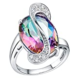 Teniu 18K Platinum Plated Ring For Women Girls Austrian Crystal Ring Diamond Ring Gorgeous Jewelry,size:9