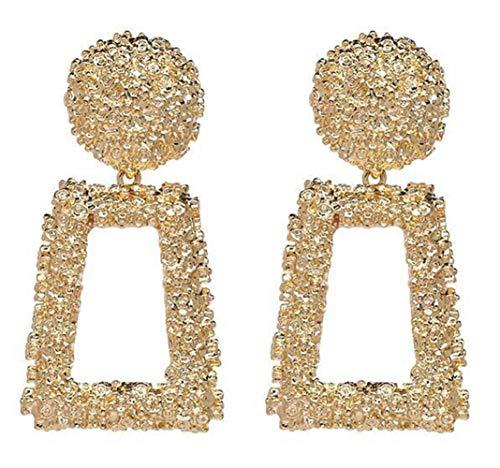 Geometric Nugget - AILUOR Golden/Silver Raised Design Statement Earrings, Punk Style Metal Geometric Maxi Earrings Jewelry Charm Big Drop Earring (Gold)