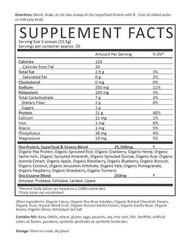 Ora-Organic-Protein-Powder-Chocolate-Plant-based-21g-Protein-Per-Serving-2-Servings-of-Superfood-Greens-1g-of-Sugar-229oz-650g