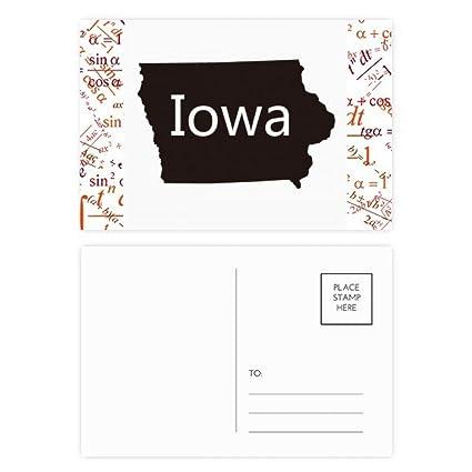Iowa America USA mapa silueta Fórmula Postal Set Tarjeta de ...