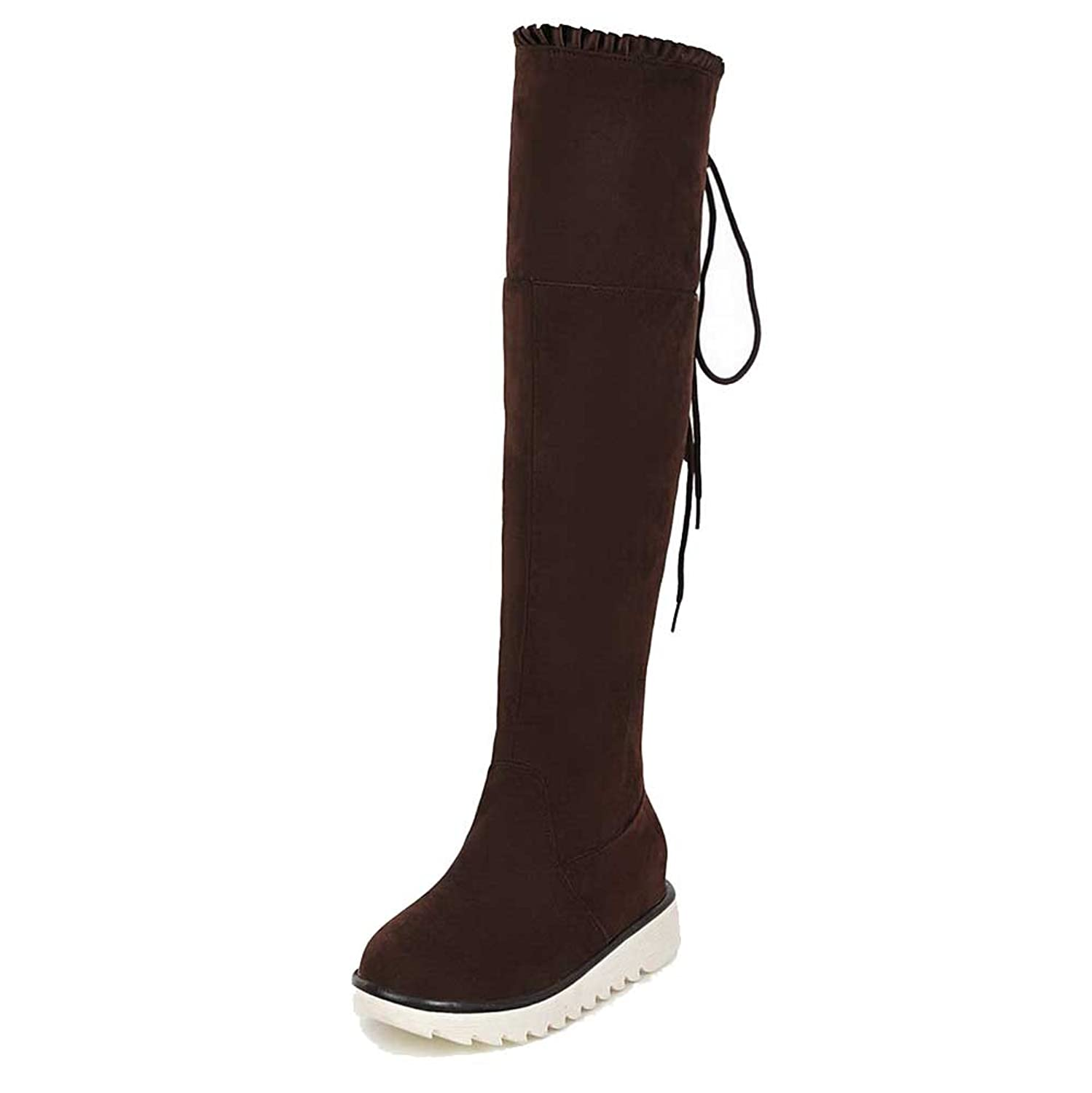 WeiPoot Women's Frosted Lace-up Round Closed Toe Kitten-Heels High-top Boots