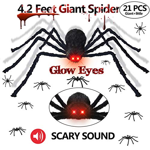 Gamegie Halloween Decorations Outdoor Giant Spider,50'' Fake Spiders That Look Real with Glowing Eyes and Scary Sound, Quake Scary Halloween Props Including 20 pcs Plastic Spider