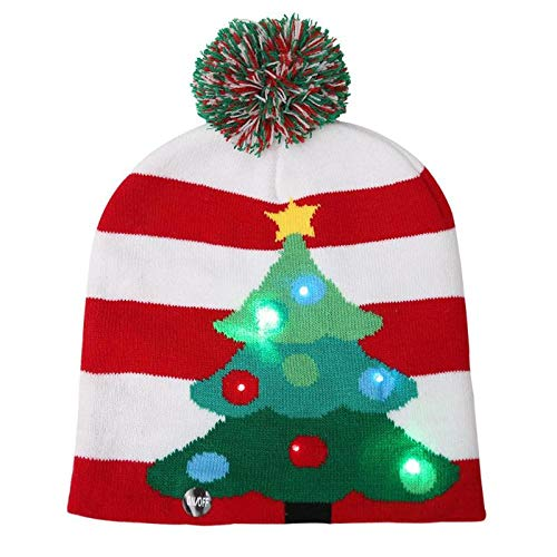Christmas Hats - Led Christmas Hat Cap Cute Winter Warm Xmas Tree Knitted Decoration Gifts Kids Hats Costume - Trucker Boys Seuss Ornaments Children Multi Sports Antlers Led Dozen