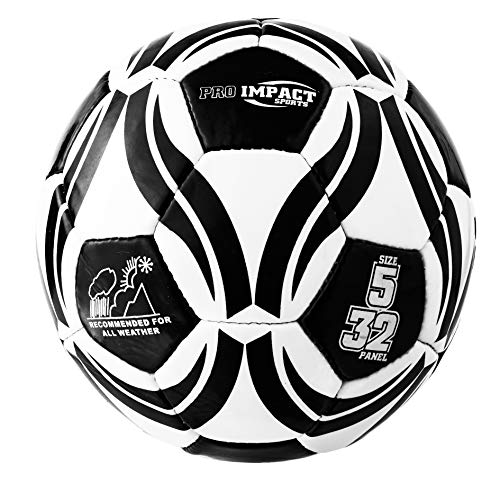 Stitched Panel - Pro Impact - Training PVC Soccer Ball - Size 5 - All Weather, Official Size, Great Design, 32 Panel, Hand Stitched