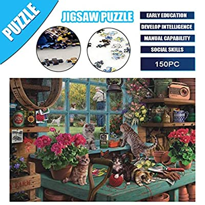 Jigsaw Puzzle Toys - Window Sill Cat - Adult Children Puzzle Holiday Gift Puzzle Toy 150 Piece Puzzle Landscape Pattern - Interesting Intellective Educational Toys Gift: Kitchen & Dining