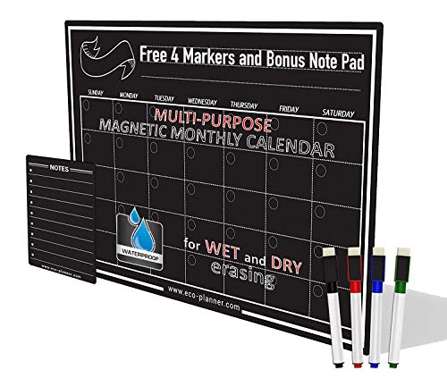 EcoPlanner Monthly Black Magnetic Refrigerator Dry Erase Board Calendar with BONUS Notepad and 4 Magnetic Fluorescent Markers with eraser Included 16''X12'' Magnetic Board Organizer Chalk Marker Board by Eco Planner