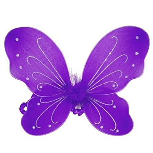 Rush Dance Butterfly Fairy Angel Wings Tinkerbell Princess Tutu Dress up Costume (One Size, Purple) (Fairy Of Dreams Costume)
