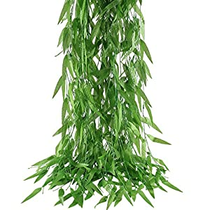 HOGADO 50pcs 375 Feet Artificial Vine Greenery Garland Faux Silk Willow Rattan Wicker Twig Fake Garden Wedding Festival Windowsill Balcony Courtyard Decor 41