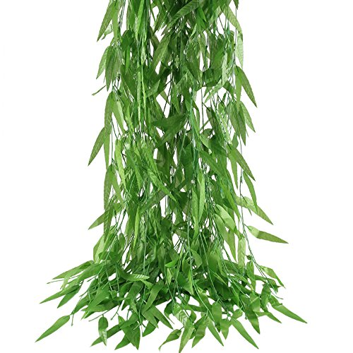 HOGADO 50pcs 375 Feet Artificial Vine Greenery Garland Faux Silk Willow Rattan Wicker Twig Fake Garden Wedding Festival Windowsill Balcony Courtyard Decor]()