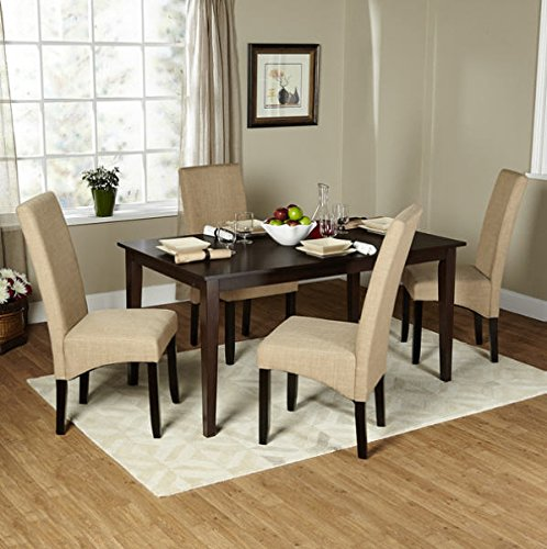 (Simple Living 5-piece Brentwood Parson Modern Dining Room Set Espresso Kitchen Table and)