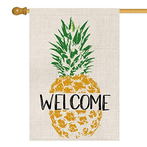 AVOIN Summer Welcome Pineapple House Flag Vertical Double Sided, Seasonal Rustic Hawaiian Farmhouse Burlap Yard Outdoor Decoration 28 x 40 Inch