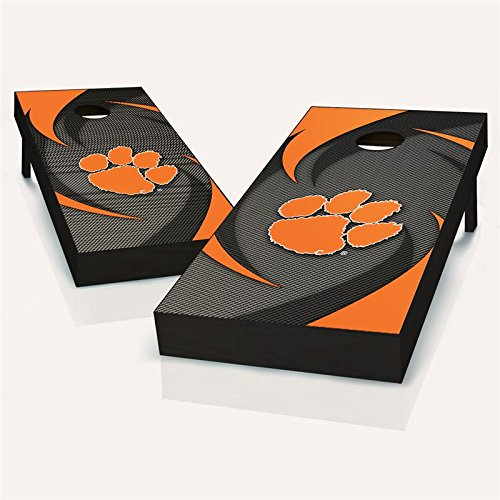 Wood 599 (Floating Pong Sale + Free Team Logo Bags - Clemson Tigers Swoosh Cornhole Boards, 2x4 ACA, Wood, Handmade, Includes Team Logo Boards Carrying Case & Cornhole Lights (Choose Color))