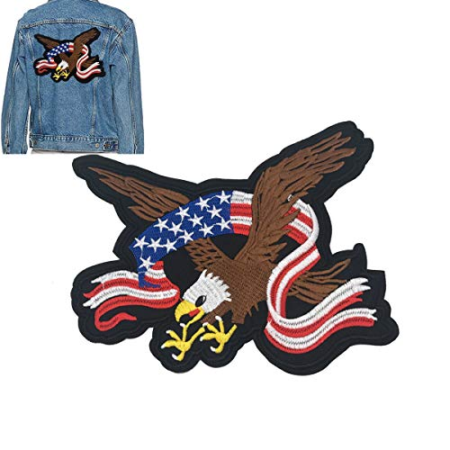 - B.FY Eagle with American Flag Bald Eagle Patch Applique Heat Transfer Saw on or Iron on Patches Embroidered Patch Cloth Stickers Animals Patch for DIY American Eagle Jeans