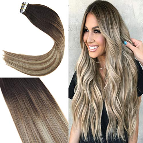 Youngsee 16 Inches Silk Straight Tape Hair Extensions Balayage Brown to Light Brown with Blonde 20pcs Dip Dyed Remy Human Hair Extensions Tape in Hair 50g/package ()