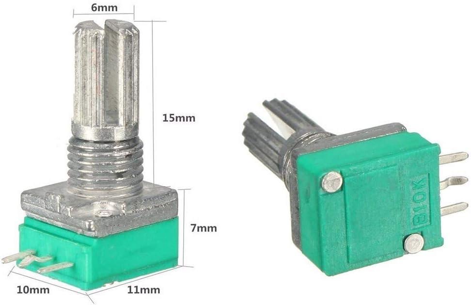 2PCS 6mm 3pin Knurled Shaft Single Linear B Type B10K ohm Rotary Potentiometer K