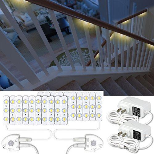 Amagle Motion Sensor Night Light,36.7ft DIY LED Stair Lights,Dimmable 60Leds LED Module Light Kits for Stairs,Staircase,Kitchen,Bedroom,Home Decor(Soft White,3000K)