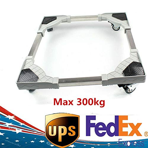 Movable Washing Machine Base With Wheels, Adjustable Refrigerator Undercarriage Bracket Stand Holder Pedestal, Anti-skid Anti-noise Pad Bottom, Universal Case Roller Dolly for Dryer