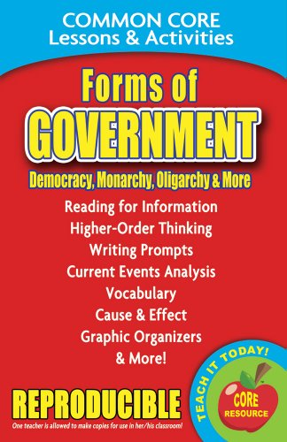 Forms of Government: Democracy, Monarchy, Dictatorship and More - Common Core Lessons and Activities