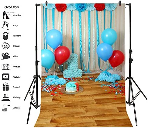 Zhy Happy Birthday Backdrop for Photography Heart Pink Blue Background 7x5ft 2.1x1.5m Kid Bday Party Decor Supplies Photo Shooting Props 7
