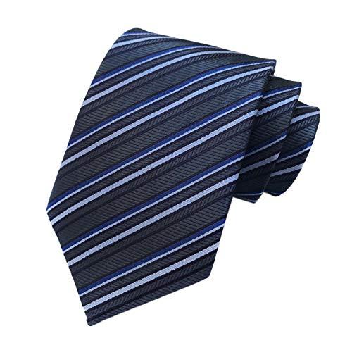 Alternating Stripe Tie - Mens Boys Dark Grey Blue Stripe Ties Seft Poly Woven Party Cool Necktie 3.15