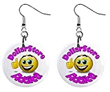 Dollar Store Addict Novelty Dangle Button Earrings Jewelry 1 inch Round 14006619