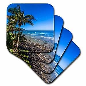 3dRose Tropical coastline, HI - Soft Coasters, set of 4 (cst_207887_1)