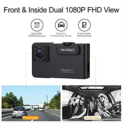 AKASO Trace 1 Dual Dash Cam for Cars, Car Dash Camera Front 1080P60 Dual 1080P30 340° Coverage Infrared Night Vision with Sony STARVIS Loop Recording G-Sensor Support max. 128GB Card: Car Electronics