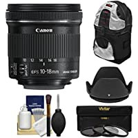 Canon EF-S 10-18mm f/4.5-5.6 IS STM Zoom Lens with Sling Backpack + 3 Filters + Hood + Kit for EOS 70D, 7D, Rebel T5, T5i, T6i, T6s, SL1 Camera