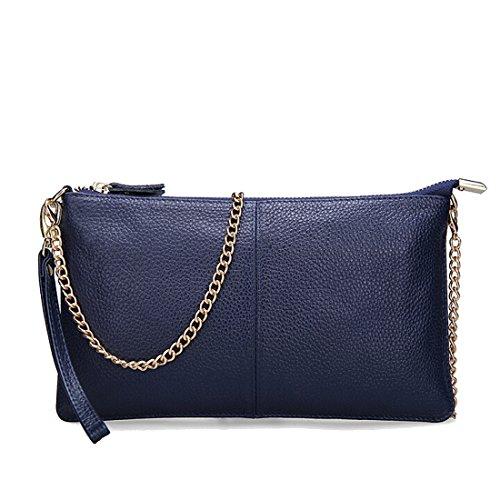 SEALINF Women's Cowhide Leather Clutch Handbag Small Shoulder Bag Purse (Sapphire (Blue Leather Clutch)