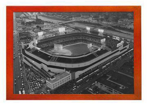 PUPBEAMO Old Tigers Stadium, Detroit, Mi - Art Print Picture Frame Photo Frames Made of Solid Wood For Table Top (Walnut,9x7 Inches) (Old Tiger Stadium Detroit)