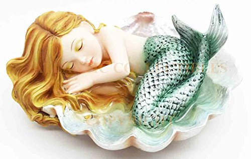Under The Sea Baby Mermaid Sleeping On Oyster Shell Enchansia Figurine (Mermaid Figurines)