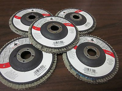 "5pc ALUMINUM OXIDE 80-GRIT 4"" SANDING GRINDING WHEEL FLAP DISC 5/8"" ARBOR ~ NEW from GOLIATH INDUSTRIAL TOOL"