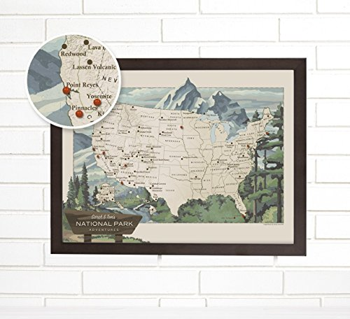 National Parks Personalized Push Pin USA Travel Map Art by ImagineNations by Wendy Gold