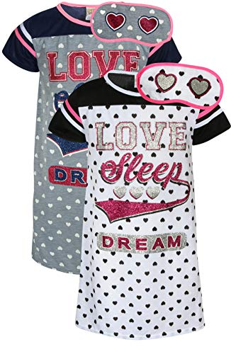 Sweet & Sassy Girls Short Sleeve Nightgown Pajama with Eye Mask (2 Pack) (Dream, 4)'