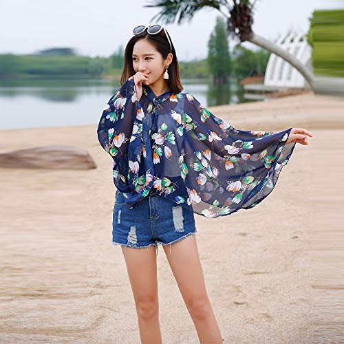 Women Vacation Sunscreen Cardigan Beach Cover up Floral Shawl Chiffon Tops Sunscreen Clothes by iLUGU (Image #1)