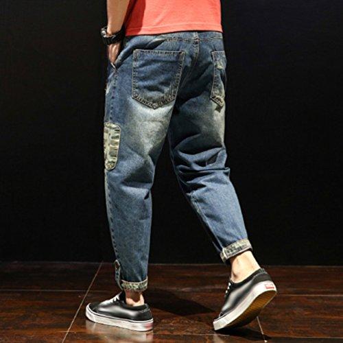 Uomo Straight Strappati 5 Pantaloni Stile Moda Yiiquan In Uomini Denim Jeans Lavato Swqn4Za