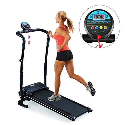 Belovedkai Mini Folding Electric Treadmill, Fitness Running Machine, Black (Black 1)