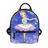 Cute Backpack For Women Purple Cartoon Ballet Girl Pattern Pu Leather Stylish Daypack Purse Bag
