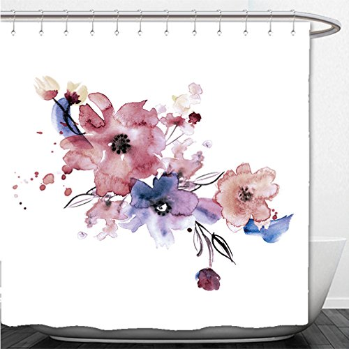 Interestlee Shower Curtain cute watercolor hand painted flowers invitation wedding card birthday card 558781579