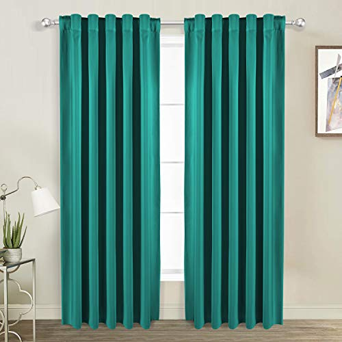 WONTEX Thermal Insulated Blackout Curtains, Back Tab and Rod Pocket Room Darkening Curtains for Living Room and Bedroom, Set of 2 Curtain Panels, 38 x 84 inch, Turquoise ()