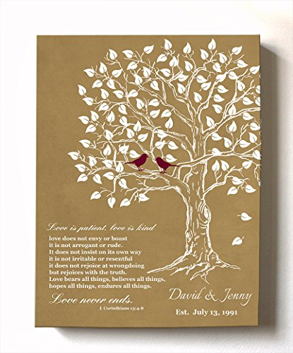 MuralMax - Personalized Anniversary Family Tree Artwork - Love is Patient Love is Kind Bible Verse - Unique Wedding & Housewarming Canvas Wall Decor Gifts - Color Beige # 3 - Size 8 x 10