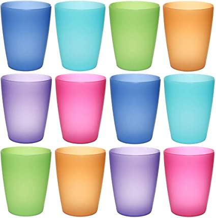 c21ff7c3b2f Guilty Gadgets ® 12 Pack - Plastic Children's Kids Drinking Cups Tumblers  Glass Bright Colours for
