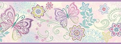 Chesapeake TOT46452B Fantasia Purple Boho Butterflies Scroll Wallpaper Border