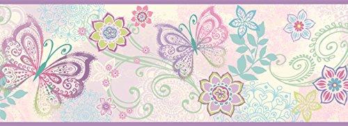(Chesapeake TOT46452B Fantasia Purple Boho Butterflies Scroll Wallpaper Border)